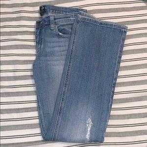Vigoss Light Wash Destroyed Flared Leg Jeans